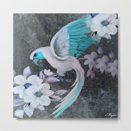 PARROT AND MAGNOLIA IMPRESSION IN BLUE AND LILAC Metal Print
