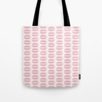 macaroon Tote Bags featuring Pink Macaroon Pattern - Bakery Art - French Macaron by French Macaron Art Print and Decor Store
