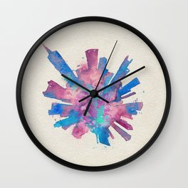 Chicago, Illinois Colorful Skyround / Skyline Watercolor Painting Wall Clock