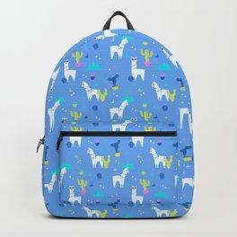 Desert Llamas on Blue Backpack