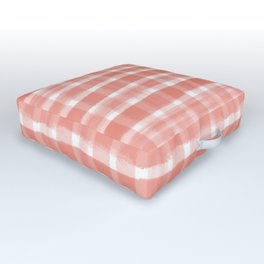 Pantone Living Coral Watercolor Plaid Paintbrush Strokes Outdoor Floor Cushion