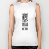 nietzsche Biker Tanks featuring Lab No. 4 - Friedrich Nietzsche Quote life music typography poster by Lab No. 4