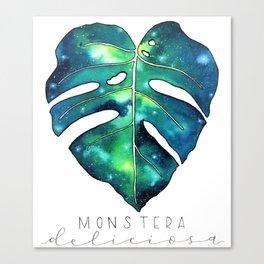 Galaxy Monstera Leaf watercolor illustration Canvas Print