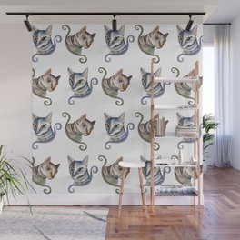 Cats love pattern Wall Mural