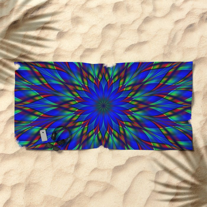 Stained glass flower mandala Beach Towel