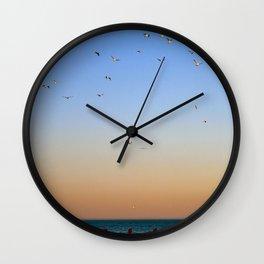 Seagulls Over Lake Michigan Wall Clock