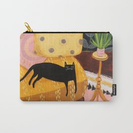 black cat on mustard yellow sofa painting by Tascha Carry-All Pouch