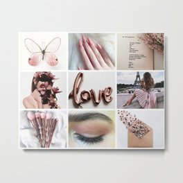 Pale Rose Gold Moodboard Metal Print