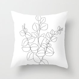 Minimalistic Eucalyptus  Line Art Throw Pillow