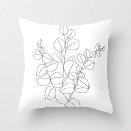 Minimalistic Eucalyptus  Line Art Throw Pillow