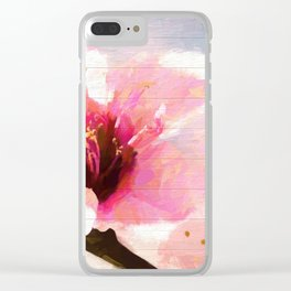 Cherry Blossom Wood Background Clear iPhone Case