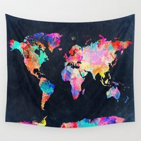world maps Wall Tapestries featuring World map by Bekim ART