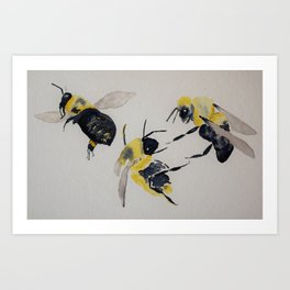 Water colour bees Art Print