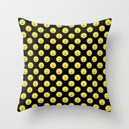 Yellow Smiley Face Black Background Throw Pillow