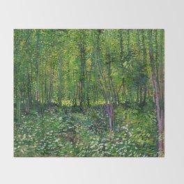 Vincent Van Gogh Trees & Underwood Throw Blanket