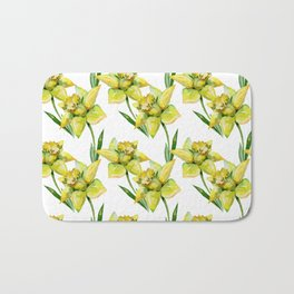 Spring hand painted yellow green watercolor daffodils floral Bath Mat