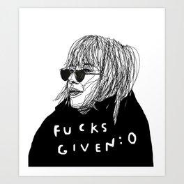 Zero Fucks Art Print