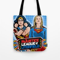justice league Tote Bags featuring Justice  by Vague