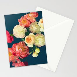 Peonies on Gray - Acrylic and Oil Painting Stationery Cards