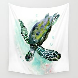 Sea Turtle, underwater scene,  green turquoise beach house design Wall Tapestry