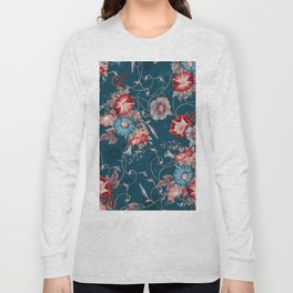 Moody Blue Floral Japanese Morning Glories Long Sleeve T-shirt
