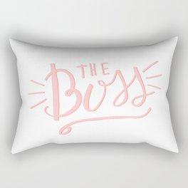 The Boss - pink/white Hand lettering Rectangular Pillow