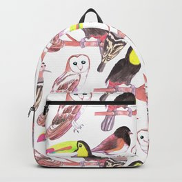 Large birds watercolor toucans, juncos, hoopoe and barn owl Backpack