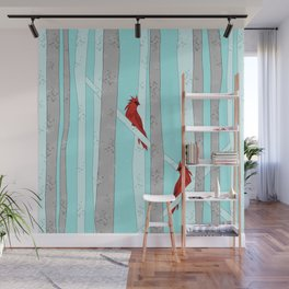Holiday Forest Cardinals Design Wall Mural
