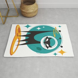 Atomic Space Cat Mid Century Modern Art Scooter Rug