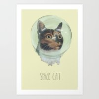 space cat Art Prints featuring Space Cat by MaryAube