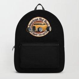 American Hot Rods Light 'Em Up Vintage Car Illustration Backpack