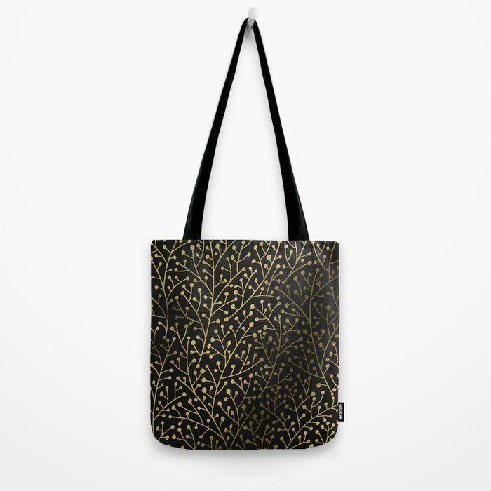 Gold Berry Branches on Black Tote Bag