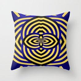 Circle Me Black and Blue Throw Pillow