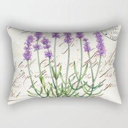 Lavender Antique Rustic Flowers Vintage Art Rectangular Pillow