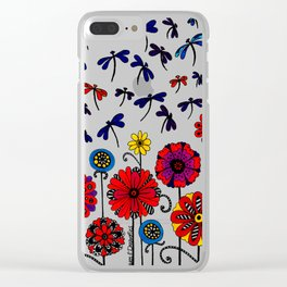Dragonflies & Flowers Clear iPhone Case