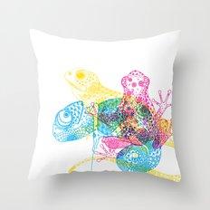 CMY Reptiles Throw Pillow