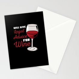 Will Give Legal Advice For Wine For Lawyer Stationery Cards