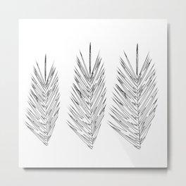 Palm Leaves Black White Metal Print
