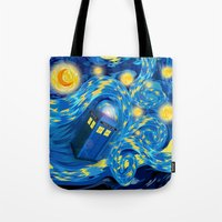 fandom Tote Bags featuring Blue Phone box Starry the night iPhone 4 4s 5 5c 6, pillow case, mugs and tshirt by Three Second