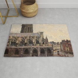 """Camille Pissarro """"L'Église Saint-Jacques à Dieppe, soleil, matin"""" Rug"""