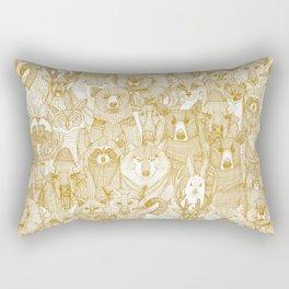 canadian animals gold white Rectangular Pillow