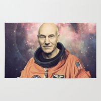 picard Area & Throw Rugs featuring Captain Picard - Astronaut in Space by Nicholas Redfunkovich