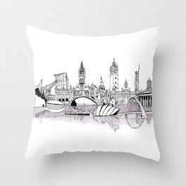 Glasgow City Skyline Throw Pillow