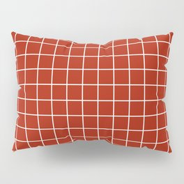 Rufous - red color - White Lines Grid Pattern Pillow Sham