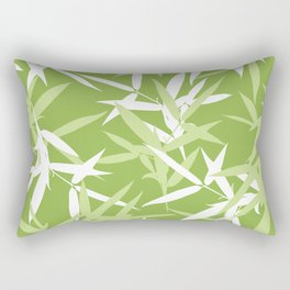Green Bamboo Leaves Unique Pattern Rectangular Pillow