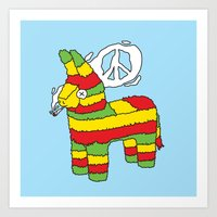 rasta Art Prints featuring Rasta pinata by Dmitriylo