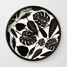 Monstera pattern in black and pastel Wall Clock