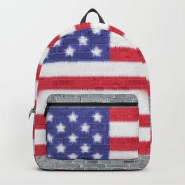 USA Flag Whitewashed Loft Apartment Brick Wall Backpack