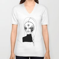 tulip V-neck T-shirts featuring Tulip by Isabella Smith