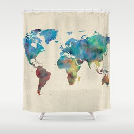 World Map Watercolor Linen Blue Red Yellow Green Shower Curtain